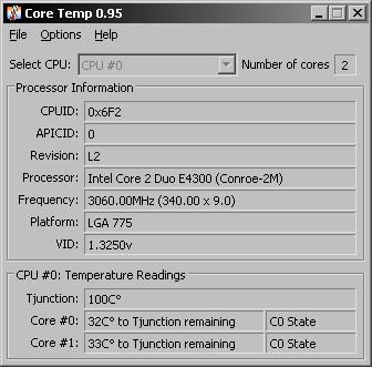 показания Core Temp при работе OCCTPT