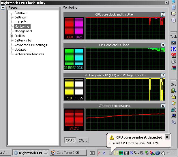 Включение троттлинга по RightMark CPU Clock