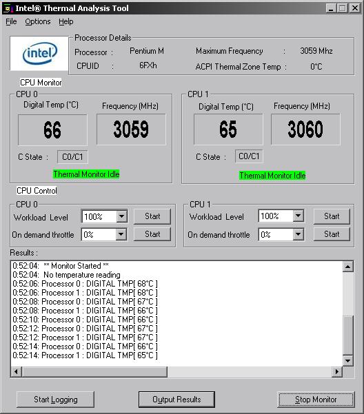 показания Intel TAT при работе OCCTPT