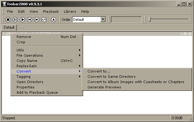 Конвертирование AAC с помощью Foobar 2000