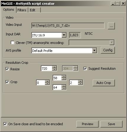Общие настройки MeGUI AVISynth Script Creator