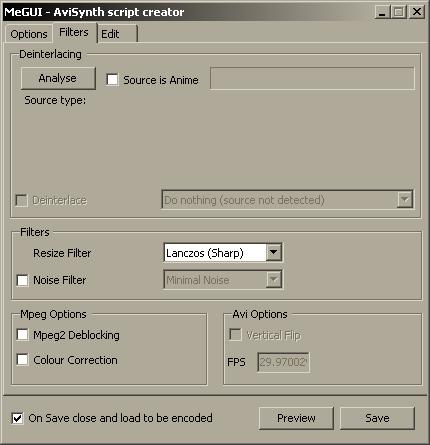 Настройки фильтров в MeGUI AVISynth Script Creator