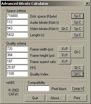 Wabc Bitrate Calculator