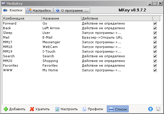 Media Key - список переназначений