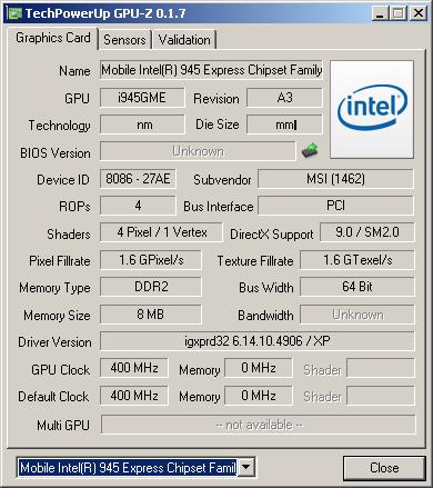 GPU-Z о видеоподсистеме MSI Wind u90