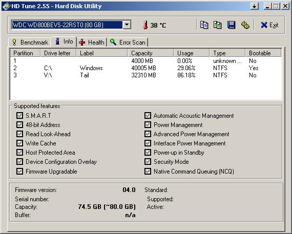 HD Tune после установки SATA-AHCI драйвера