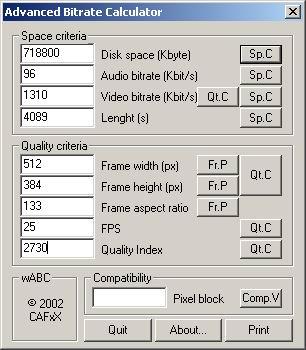 Интерфейс wABC calculator