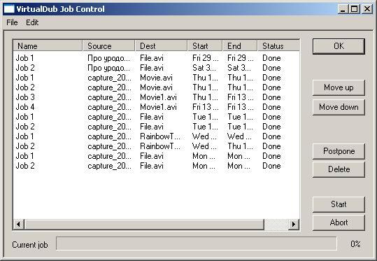 Интерфейс VirtualDub Job Control