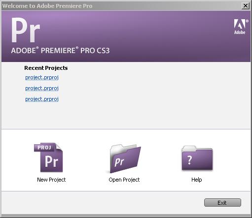 откройте Premiere CS3, создайте новый проект