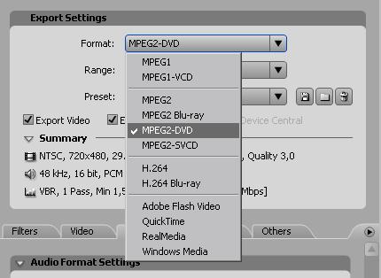 выберите формат MPEG2-DVD...